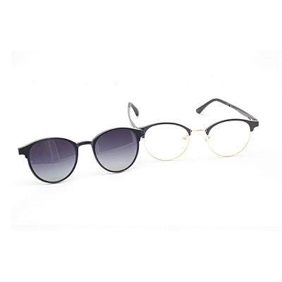 Óculos Clip-On Redondo Preto e Dourado