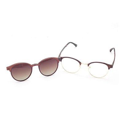Óculos Clip-On Redondo Marrom e Dourado