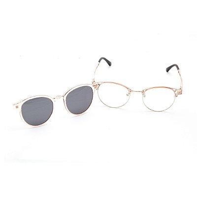 Óculos Clip-On Feminino Redondo Acrílico Rose e Prata