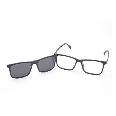 Óculos clip-On Masculino Retangular Acetato Preto
