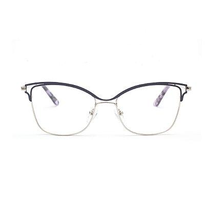 Armação para Óculos de Grau Feminino Metal Preto e Dourado