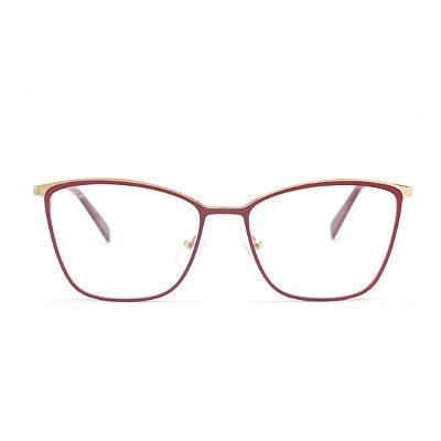 Armação para Óculos de Grau Feminino Metal Vermelho