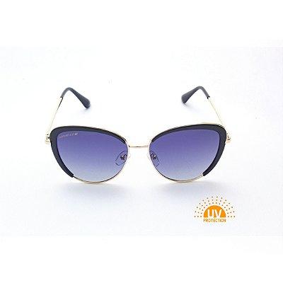 Óculos de Sol Feminino Oval Preto Lente Preta com Metal Dourado