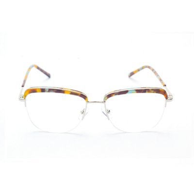 Armação para Óculos de Grau Quadrada em Metal com Prata e Estampa