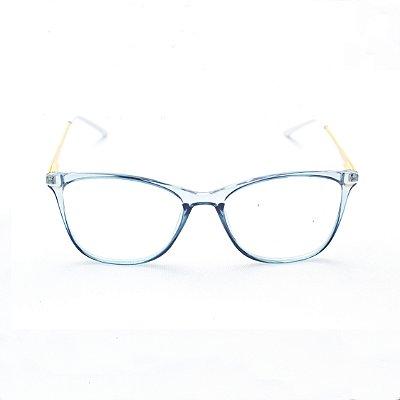 Armação para Óculos de Grau Retangular em Acrílico Azul