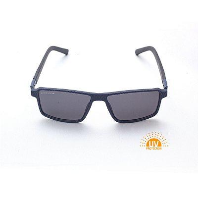 Óculos de Sol Masculino Retangular Azul Marinho Lentes Black Afrikan