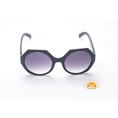 Óculos de Sol Feminino Hexagonal Lente Black Degradê Afrikan
