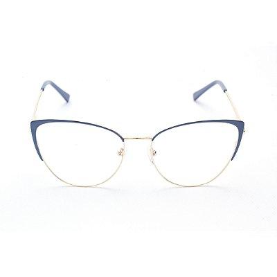 Armação para Óculos de Grau Feminino Metal Gatinho Oval Azul com Dourado