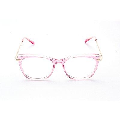 Armação para Óculos de Grau Feminino Acetato Gatinho Rosa com Transparente