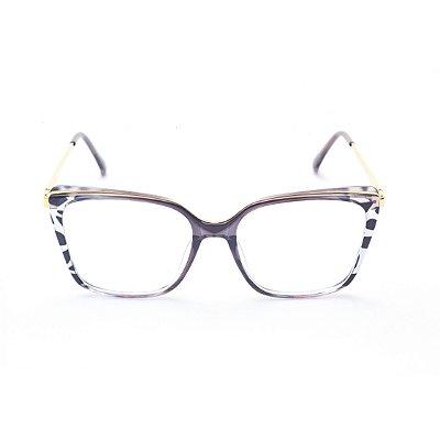 Armação para Óculos de Grau Feminino Quadrado Gatinho Cinza com Estampa