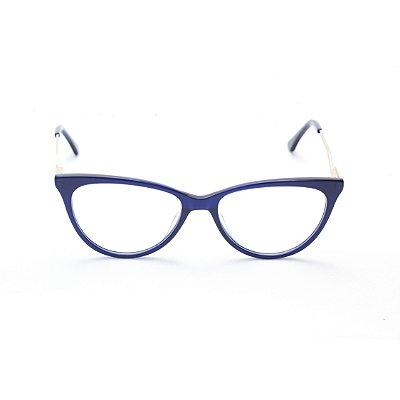 Armação para Óculos de Grau Feminino Gatinho Oval Azul Marinho