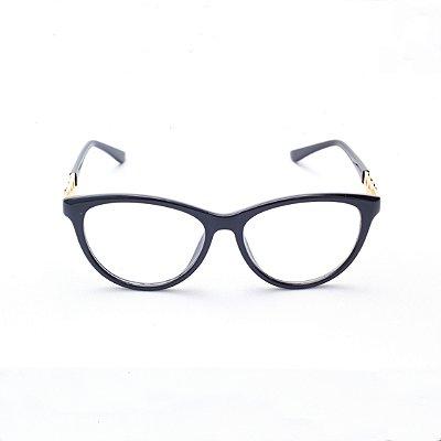 Armação para Óculos de Grau Feminino Gatinho em Acrílico Preto