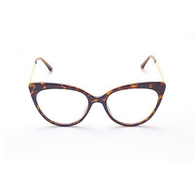 Armação para Óculos de Grau Feminino Acetato Gatinho Marrom Tartaruga