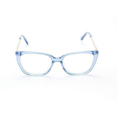 Armação para Óculos de Grau Feminino Gatinho Retangular Azul Bebê