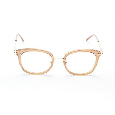 Armação para Óculos de Grau Feminino Ovalado Gatinho Nude