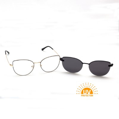 Armação para Óculos de Grau Clip-on Feminino Gatinho Preto com Prata