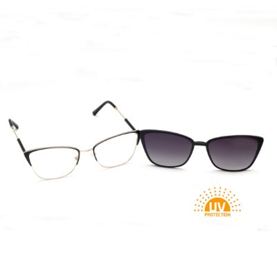 Armação para Óculos de Grau Clip-on Metal Gatinho Preto com Dourado