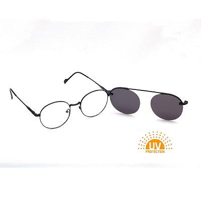 Armação para Óculos de Grau Clip-on Redondo Metal Preto