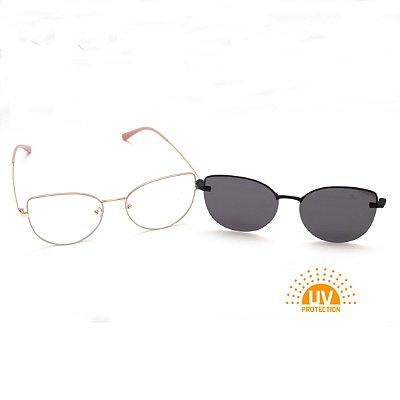 Armação para Óculos de Grau Clip-on Feminino Metal Rose com Prata Gatinho Oval