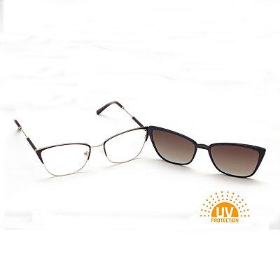 Armação para Óculos de Grau Clip-on Metal Gatinho Marrom com Dourado