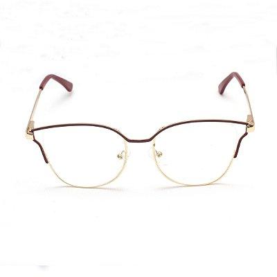Armação para Óculos de Grau Gatinho Metal Vermelho Sandy