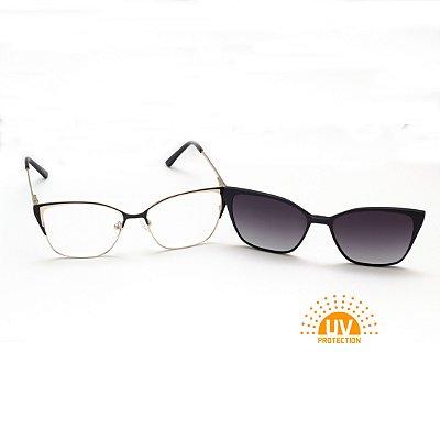 Armação para Óculos de Grau Clip-on Feminino Gatinho Metal