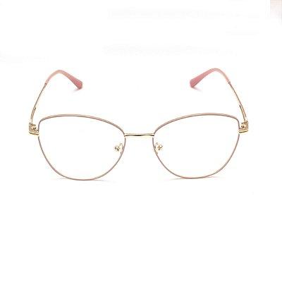 Armação para Óculos de Grau Clip-on Feminino Metal Rose com Dourado