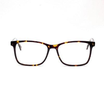 Armação para Óculos de Grau Clip-on Masculino Acetato Marrom Tartaruga
