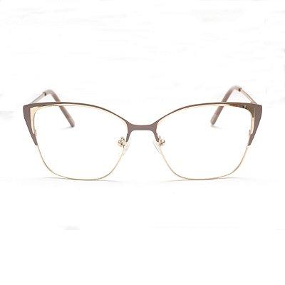 Armação para Óculos de Grau Clip-on Feminino Gatinho Metal Nude