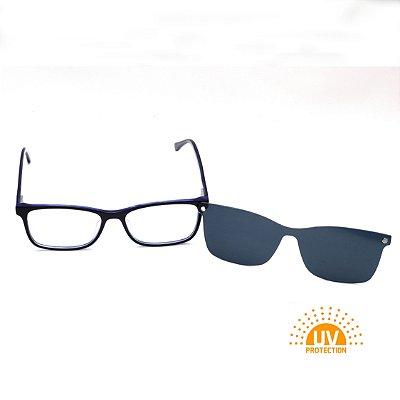 Armação para Óculos de Grau Clip-on Masculino Acetato Preto com Azul Interno