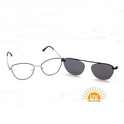 Armação para Óculos de Grau Clip-on Feminino Metal Preto com Prata