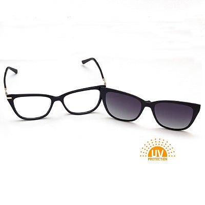 Armação para Óculos de Grau Clip-on Feminino Acetato Preto Brilhante Gatinho