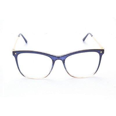 Armação para Óculos de Grau Feminino Acetato Quadrado Azul Degradê com Metal Dourado
