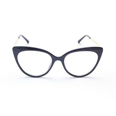 Armação para Óculos de Grau Feminino Acetato Gatinho Preto