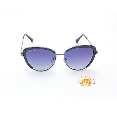 Óculos de Sol Feminino Oval Preto com Metal Cinza