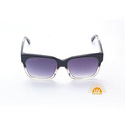 Óculos de Sol Quadrado Acetato Preto com Transparente Afrikan