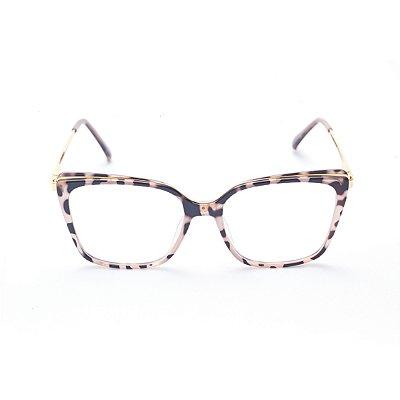 Armação para Óculos de Grau Feminino Quadrado Gatinho com Estampa