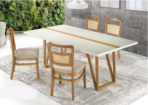 Conjunto de mesa de jantar com 4 cadeiras Ludmilla