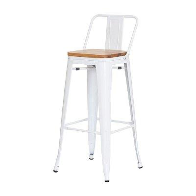 Banqueta Tolix c/assento de madeira