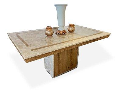 Mesa de jantar 1,60 x 1,00m marmore travertino resinado