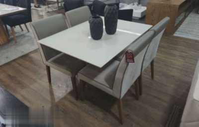 Mesa de jantar Dalila c/ 4 cadeiras 120 x 0,90m