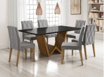 Cojunto de mesa de Jantar com 6 Cadeiras Mona