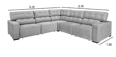 Sofá sd02-topázio selv canto 3,10 x 3,10 mts retratil e articulado
