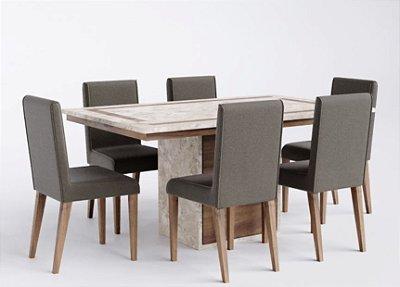 Cjt sala de jantar em  mármore com 6 cadeiras