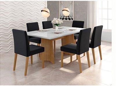 Conjunto de mesa de jantar Ayla com 6 cadeiras