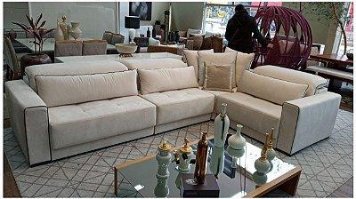 Sofá de canto BRG com assentos retrateis e articulados - 2,90 x 2,10 mts