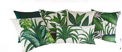 Kit com 6 almofadas estampas verdes