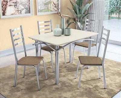 Mesa 4 cadeiras cromada com off white