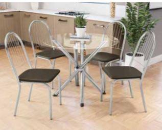 Mesa redonda 4 cadeiras cromada