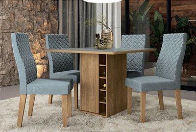 Mesa de jantar com 4 cadeiras Galileia - Vidro padrão inox